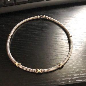 David Yurman cable choker with 3 gold x's